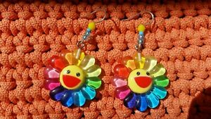 Sunshine summer earrings hand crafted crystals colourful cute flower funny hippy