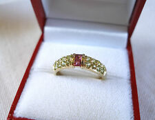 .80 Ct. Pink Tourmaline & Peridot  10k Gold Ring