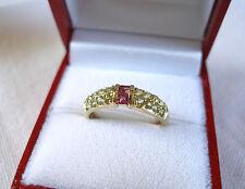 .80 Ct. Pink Tourmaline & Peridot  10k Gold Ring