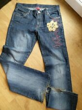 ELLE size 10 BLUE DENIM STRAIGHT LEG JEANS with detailing see pics