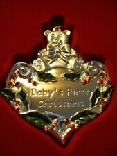 Gorham Silver-Plated 2007 Baby'S First Christmas Teddy on Heart Ornament Nib