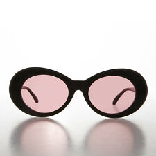 Black Kurt Cobain Oval Cat Eye Sunglass with Pink Tinted Lens - Lulu