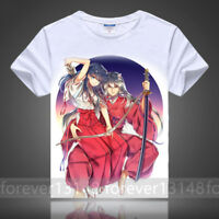 Anime InuYasha Pullover Cosplay Unisex White T-shirt Short Sleeve Tops Summer#60