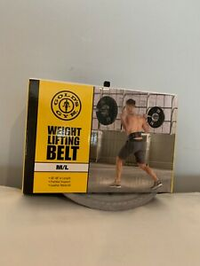 WEIGHT LIFTING BELT, GOLD'S GYM, size M to L 30 to 48 padded support, leather