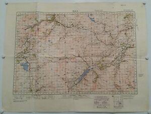 VINTAGE CLOTH MAP.1940.BALA.WALES.WAR MINISTRY.ORDNANCE SURVEY.PROP.DISPLAY.