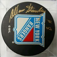 ALLAN STANLEY HOF SIGNED NEW YORK RANGERS NHL PUCK STICKER COA ON PUCK! SMEARED