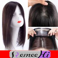Mono Silk Base 100% Human Remy Topper Hair Hairpiece Clip in Wiglet Women UK