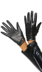 Vinyl Moto Gloves Wrist Length Short Biker Driving Costume Women's Black 996401
