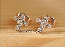 18K Rose Gold Gp Austrian Crystal Cross Stud Ear Fashion Jewelry Earrings BR1095