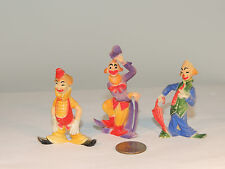 Clown Figurines Plastic over 2 inches tall set of 3 (4627)