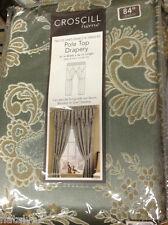 Croscill GREENWICH Pole Top DRAPES Curtain PANELS Set Paisley Floral AQUA Gold
