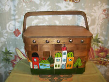 Gary Gail Wood Purse Picnic Basket Old Stores vintage Multi-color