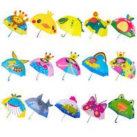 Children Umbrella Boys Girls Cartoon With Animal Ears Umbrella Long Handle Light