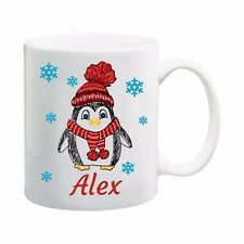 PERSONALISED MUG WITH PENGUIN DESIGN AND YOUR NAME KID CUP CHRISTMAS GIFT UNISEX