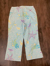 Lilly Pulitzer Girls Turquoise Tile Starfish Cropped Pants Size 8