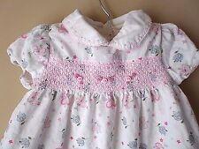 Girls LAURA ASHLEY Pink Floral Corduroy Dress Smocked Size 24 Months
