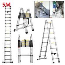 5m Foldable Heavy Duty Multi Purpose Aluminium Telescopic Extendable Ladder Uk