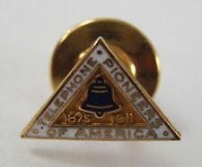 Telephone Pioneers of America Hat Pin Tie Tack Enamel 10K Gold Filled 1875-1911