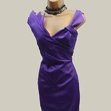 KAREN MILLEN Purple Satin Folded Cocktail Wiggle Pencil Cruise Races Dress 14 UK