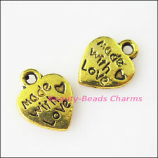 20Pcs Antiqued Gold Tone Made with Love Heart Charms Pendants 9.5x12.5mm