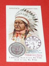 CIGARETTES SMITH'S CARD NATIONS OF WORLD 1923 #11 INDIAN TERRITORY DOLLAR INDIEN
