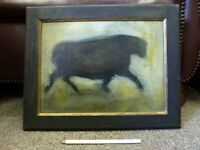 Original Vintage Angel Black BULL Taurus Taurean Oil Painting Tara Danischevsky