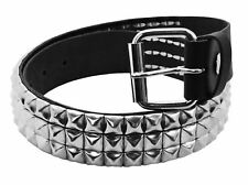 Bullet 69 Black 3 Row Small Pyramid Studded Leather Belt (38mm)