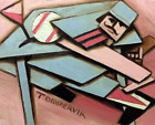 Sports Abstract Baseball Pitcher Knocking Over Table Art Work Original Painting