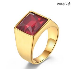 Men Women Gold Plated Stainless Steel Square Red Cubic Zircon Stone Ring 8-11