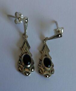 Vintage Solid 925 Sterling Marcasite & Onyx  Earrings