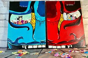 Japanese Oni Mask Set of two 12x16 canvases. Blue and red vibrant colors