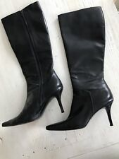 Stuart Weitzman Black Leather Tall Boots Size 9 1/2