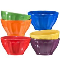 Bruntmor Ceramic Groove Bowls Set of 6 For Cereal Soup Ice Cream 14 OZ Multi