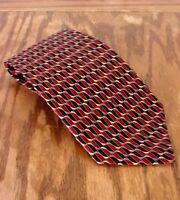 "euc Cocktail Colors Men's Dark Red Geometric Men's Silk Tie Necktie 61"" 3.75"""