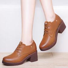34-40 Women's Girls  Classic Oxford Shoes Lace Up Block Heels Platform Boots