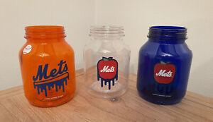 3 New York Mets Plastic Mason Souvenir Jars (SGA)