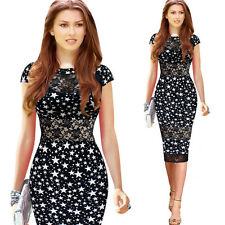 Women Sexy Lace Patchwork Star Print Bodycon Evening Party Cocktail Pencil Dress