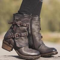 Womens Vintage Buckle Oxford Combat Retro Mid Calf Boots Block High Heel Shoes