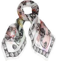 """ALEXANDER MCQUEEN ivory SKULLS & BUTTERFLIES silk chiffon 41x47"""" scarf NWT Auth"""