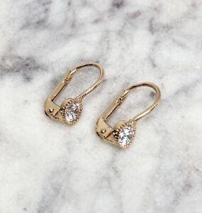 585 Russian Red Gold Women's Lever back Earrings