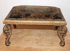 Antique FOOTSTOOL with Ornate BRASS LEGS, Small Stool, Restoration Reupholster