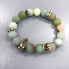 Antique Gold Finish Pineapple Amazonite Matte Stone Beaded Stretchable Bracelet
