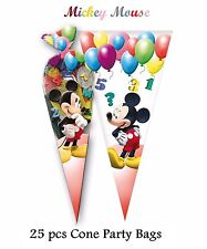 25 x CONE PARTY BAGS Kids Birthday party Sweet Loot Filler Toys MICKEY Style