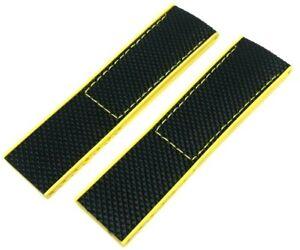 BLACK YELLOW NYLON RUBBER STRAP FOR BREITLINGS AVENGER COLT SEAWOLF 22MM 24MM