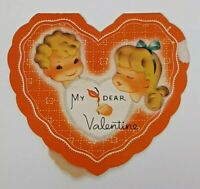 MY DEAR VALENTINE Greeting Card Vtg 40s USA CAN'T STRIKE BETTER MATCH YOU AND ME