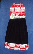 **NEW** Handmade Campbell's Soup Cans Black Hanging Kitchen Hand Towel #1558