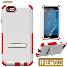 NEW for APPLE iPhone 6S /6 WHITE RED TRI SHIELD METAL STAND COVER CASE