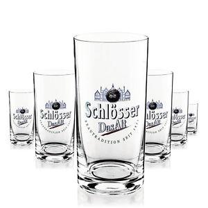 6 x Schlösser Alt Glas Gläser 0,25l Bierglas Becher Gastro Bar Deko NEU