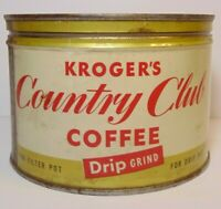 Vintage 1940s COUNTRY CLUB COFFEE KEYWIND COFFEE TIN 1 ONE POUND CINCINNATI OHIO