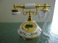Floral Design Antique Style Push Button Corded Telephone